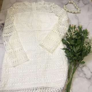 Made in Korea Floral Lace White One Piece Dress