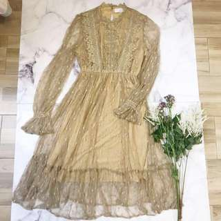 Made in Korea Khaki Dotted One Piece Dress with Lace