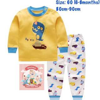 Ready stock! Yellow dino Kids pajamas (size60)