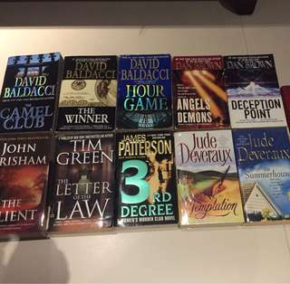David Baldacci, Dan Brown, Jude Deveraux, James Patterson, Tim Green, John Grisham