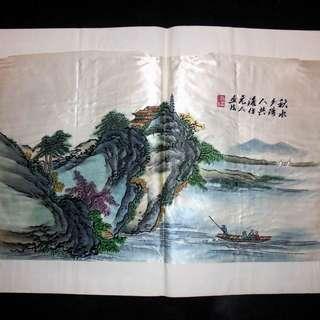 【早期珍藏湘繡精品】秋水夕陽人共渡(畫芯:55cm × 33cm)