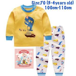 Yellow Dino Unisex kids pajamas (size70)