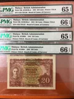 Malaya 1941 20 and 50 cents pair