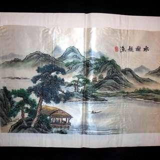 【早期珍藏湘繡精品】水榭觀漁