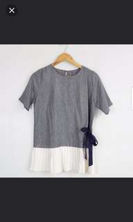 Gray Blouse with White Pleated Design