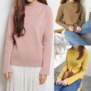 2018 Korean Women's Long Sleeve Half Turtleneck Women's Sweaters