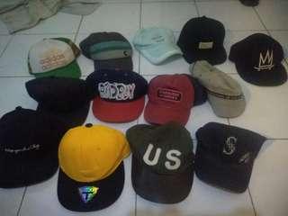 Topi jaring dan snapback Rp.50.000-100.000an