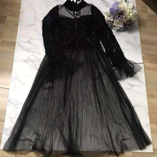 Made in Korea Black Lace Tulle Dress with Ruffles and Velvet Ribbon
