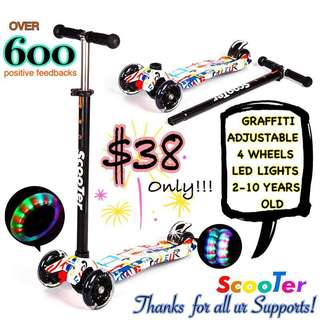 Kids scooter with LED lights GRAFFITI design Black and White