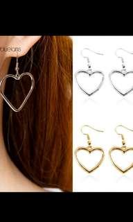 Dangle hoop heart earrings