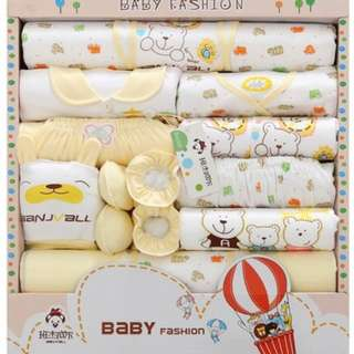 PRE-ORDER 16 in 1 Set Baby Clothes Bear and Car Print Yellow
