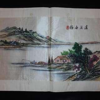【早期珍藏湘繡精品】清溪垂釣(畫芯:58cm × 34cm)