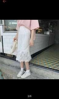 白色蕾絲魚尾裙