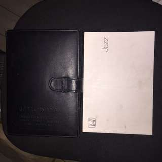 HONDA JAZZ OWNERS MANUAL BOOK WITH LEATHER FOLDER