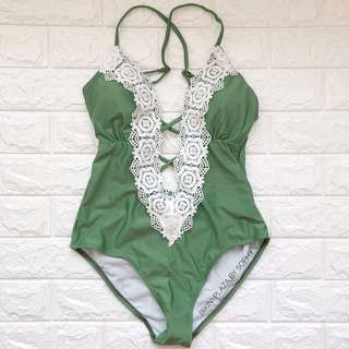Available onhand Green Sexy Onepiece with Lace
