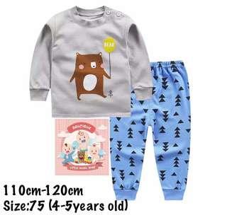 Bear Kids pajamas set, baju tidur (size75)