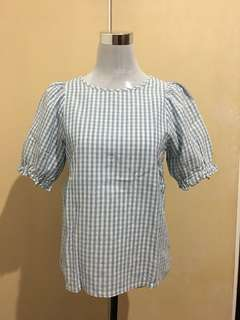 Gingham Blouse in Paste Blue