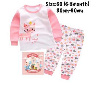 Pink kitty kids pajamas set, baju tidur(size60)