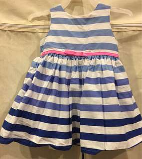 Sweet Navy Stripe Dress with pink bow