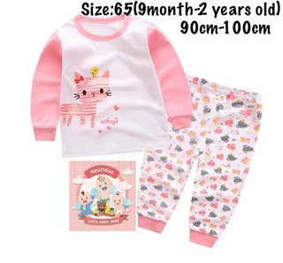 Pink kitty kids pajamas set, baju tidur (size65)