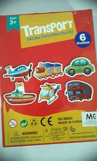 Learn 6 in 1 Transport puzzles. 2 & 3 piece