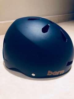 Bern Hardhat Helmet - Blue with Orange Straps