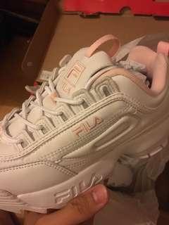 fila 鋸齒鞋 白粉