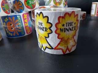 [INSTOCK] BN Roll of Jumbo The Winner Motivational Stickers (Oriental Trading)