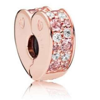 PANDORA ROSE PINK MIX ARCS OF LOVE CLIP