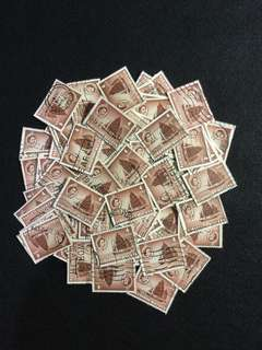 100pcs 1955 Singapore QE2 4cents Value Used Duplicates