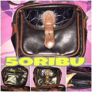 Tas Brown Black Vintage Jadul