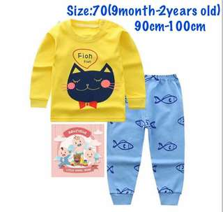 Yellow cat kids pajamas set, baju tidur (size70)