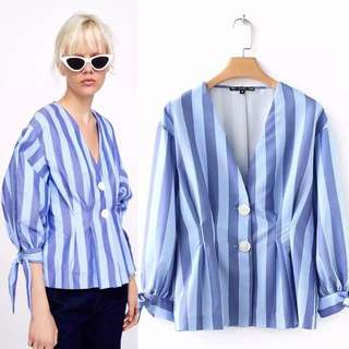 Europe and the United States V-neck long-sleeved pleated decorative striped shirt