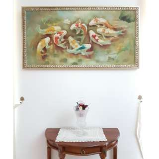 Classic Fish Painting With Vintage Frame