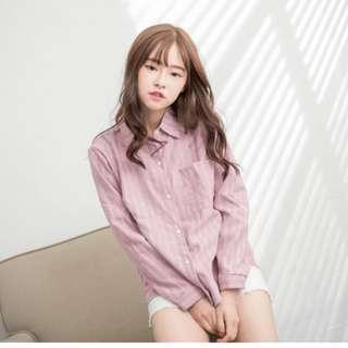 粉白線直條紋長袖襯衫