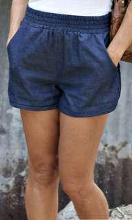 Denim Curve Cut Elastic Waist Shorts