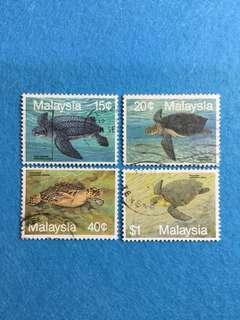 1990 Marine Life S3 Turtles 4 Values Used Set
