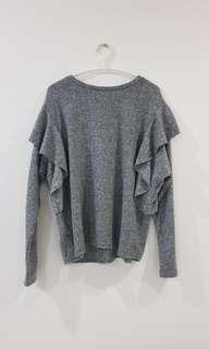Mango Ruffles Sweater (Grey, Size L)