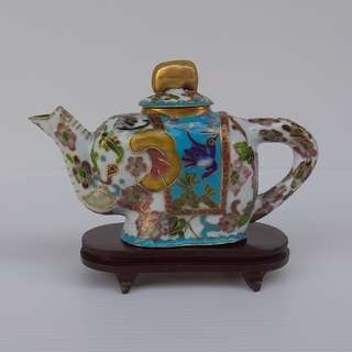 Vintage Chinese Cloisonne Figurine Copper Enamel Ornamental White Elephant Shape Tea Pot