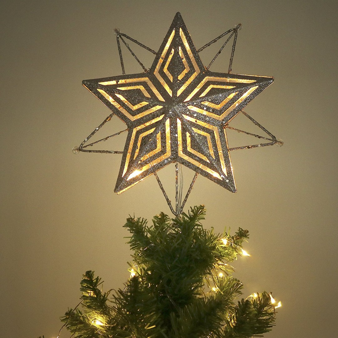 278 Valery Madelyn 11 Inch Pre Lit Elegant Champagne Gold Christmas Tree Topper Metal Tree Top Star With 10 Warm Led Lights Battery Operated Electronics Others On Carousell