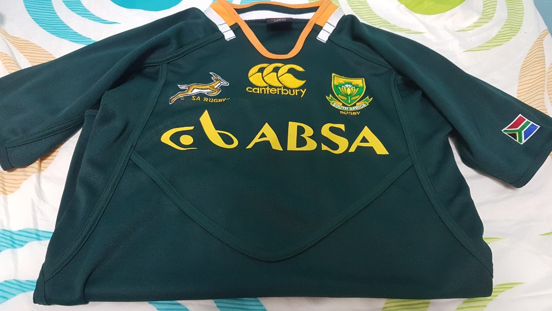 1bf2f43364e Authentic South Africa Rugby Jersey, Sports, Sports Apparel on Carousell