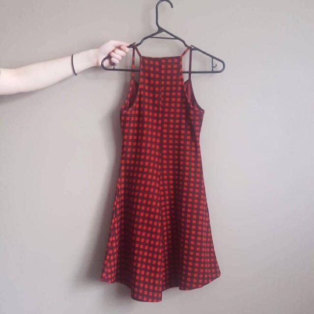 Black/Red Gingham Skater Dress