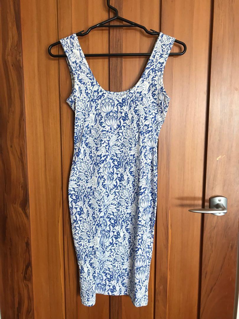 Blue and white print mini dress