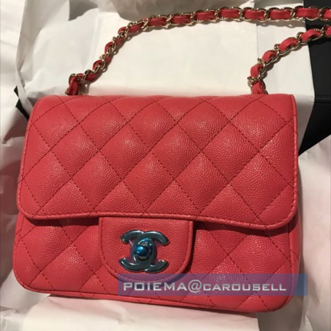 5a8834bb76d43c CHANEL Square Mini Flap Caviar Calf Cruise 2017 CORAL Light Gold Hardware,  Luxury, Bags & Wallets, Handbags on Carousell
