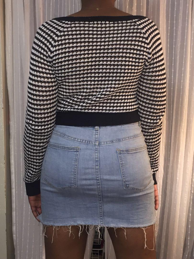 Checkered Crop Knit