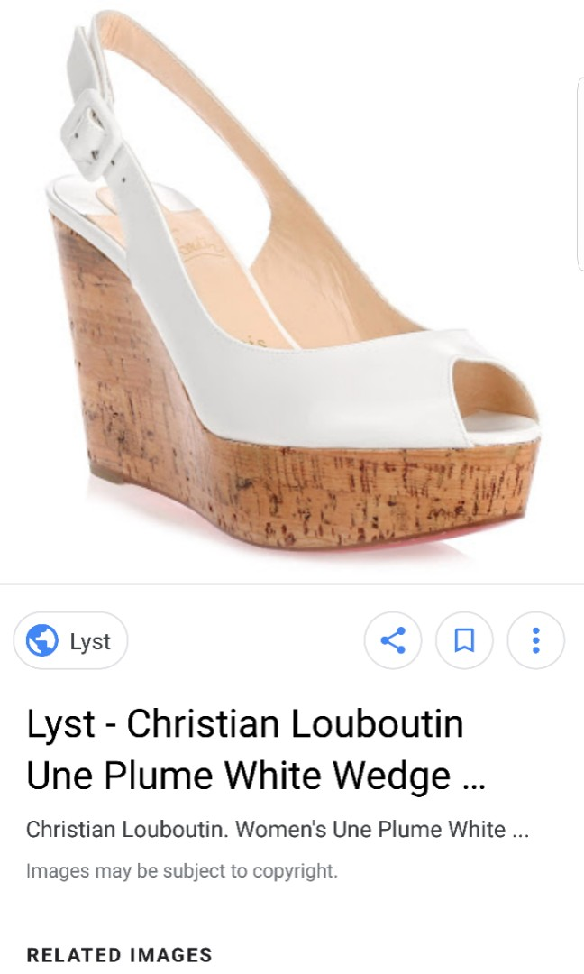 f05745f8af79 christian louboutin une plum platform cork wedge in white patent ...
