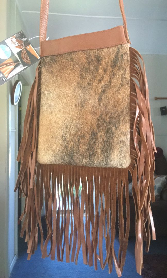Cowhide and leather bag