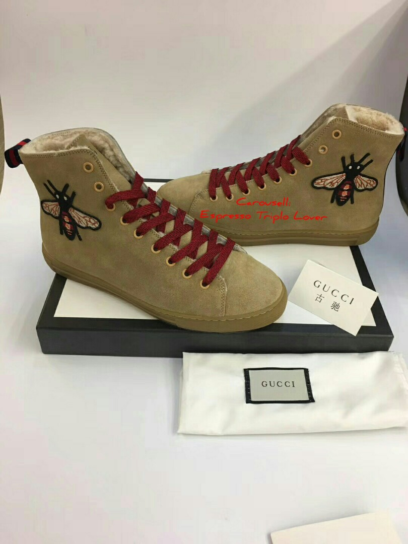 58884e9db3a9 Gucci Ace embroidered High-Cut Leather Sneaker