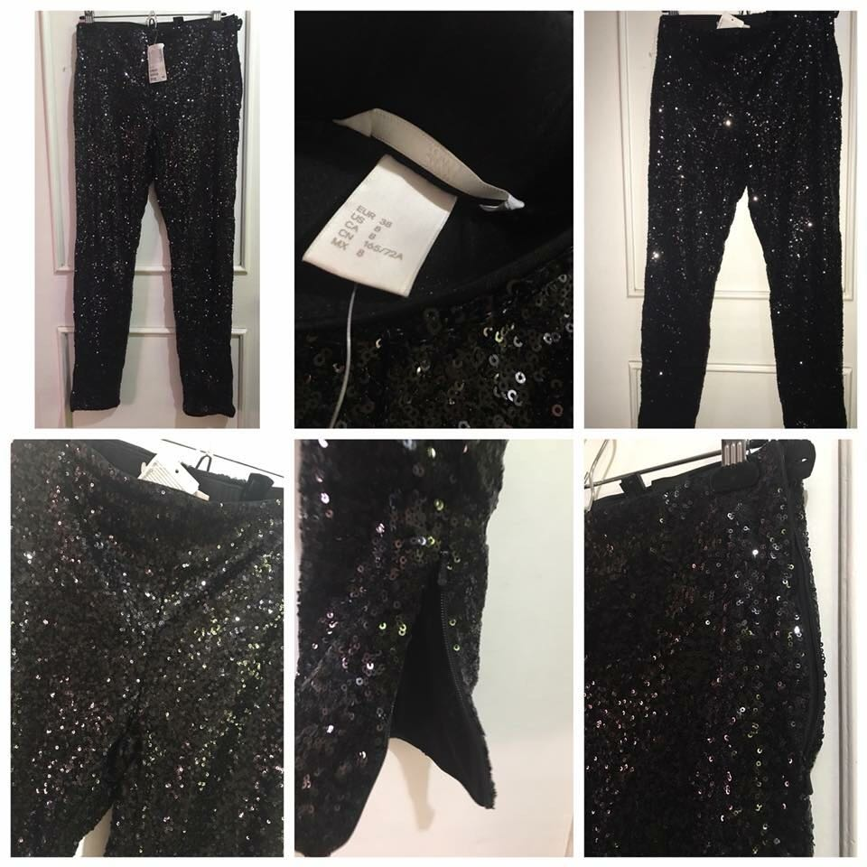 d53efe2f112 H M Sequined pants in jersey