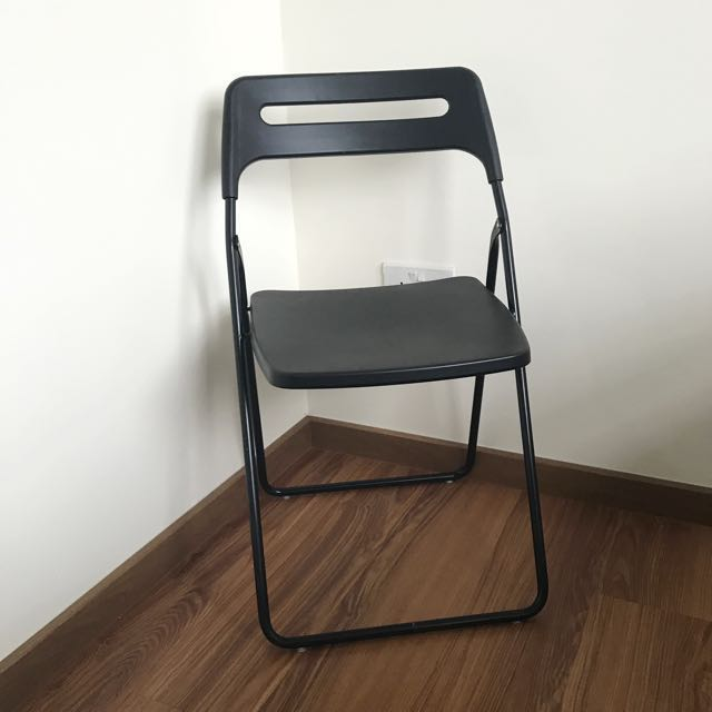 IKEA Folding Chair, Black, Furniture, Tables & Chairs on